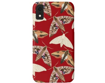 Moth Print iPhone XS, Max, XR, X, 7/8, 7/8 P, 6/6S or 6 Plus Snap Case or TOUGH Protective Cover, Red Insect/Butterfly/Bug, Modern Retro
