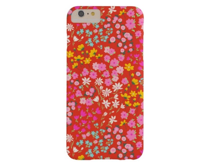 Red Floral iPhone XS, Max, XR, X, 7/8, 7/8 P, 6/6S, 6 Plus Snap Case or Tough Protective Cover, Ditsy/Retro Daisy Flowers, Pink/Colorful