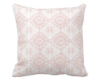 "Block Print Medallion Throw Pillow or Cover, Pink/White 16, 18, 20 or 26"" Sq Pillows or Covers, Pale/Blush Geometric/Tribal/Batik/Geo/Boho"