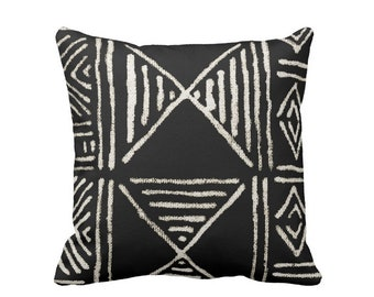 "READY 2 SHIP - OUTDOOR Mud Cloth Print Throw Pillow Cover, Black & Off-White 18"" Sq Pillow Covers, Mudcloth/Boho/Geometric/African"