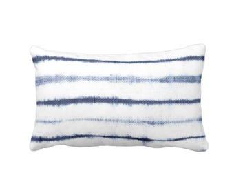 "READY 2 SHIP - OUTDOOR Uneven Lines Lumbar Throw Pillow Cover, Navy/Indigo/White 14 x 20"" Covers, Blue Shibori/Stripe/Striped/Line/Stripes"