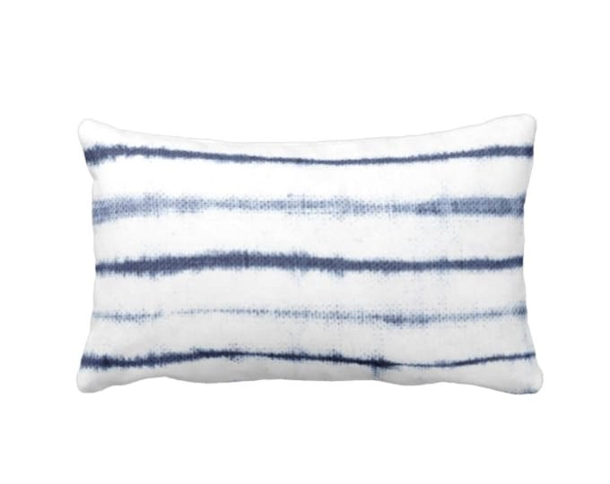 "READY 2 SHIP - OUTDOOR Uneven Lines Lumbar Throw Pillow Cover, Navy/Indigo/White 14 x 20"" Covers, Blue Shibori/Stripe/Striped/Line/Stripes"