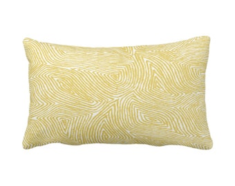 "Sulcata Geo Throw Pillow or Cover, Citron Yellow & White 14 x 20"" Lumbar Pillows/Covers Abstract Geometric/Wavy/Lines/Tribal Pattern/Print"