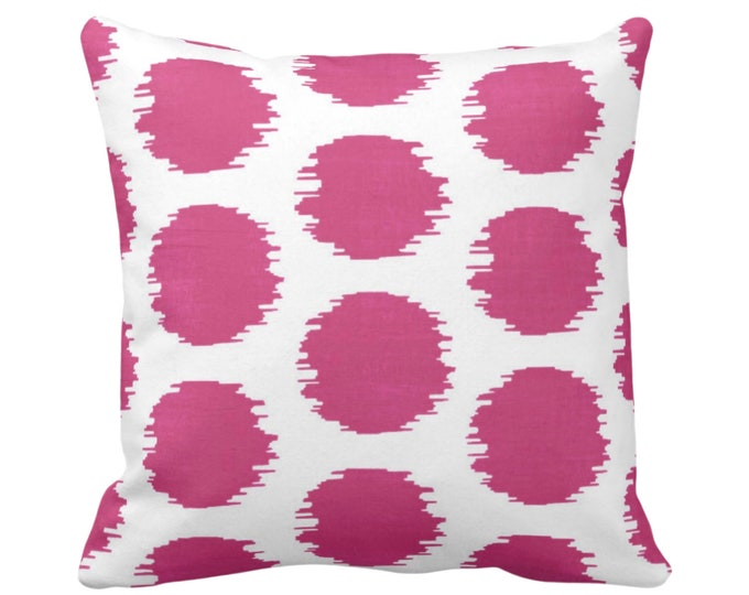 "OUTDOOR Ikat Dot Throw Pillow or Cover, Magenta/White 14, 16, 18, 20 or 26"" Sq Pillows or Covers Dots/Spots/Circles/Dotted/Art Print/Pattern"