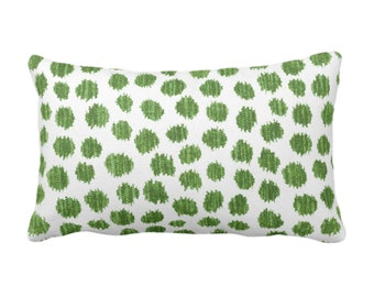 """OUTDOOR Scratchy Dots Throw Pillow or Cover, Olive/White 14 x 20"""" Lumbar Pillows/Covers Dark Green Scribble/Dots/Spots/Dotted Print/Pattern"""
