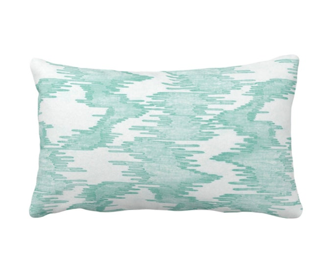 """OUTDOOR Ikat Print Throw Pillow or Cover, Jade/White 14 x 20"""" Lumbar Pillows/Covers, Abstract/Waves/Water/Stripe/Modern/Lines/Art Pattern"""