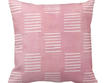 "READY 2 SHIP Mud Cloth Lines Print Throw Pillow or Cover, Pink/White 16"" Sq Pillows/Covers, Mudcloth/Boho/Geometric/African/Tribal/Geo"