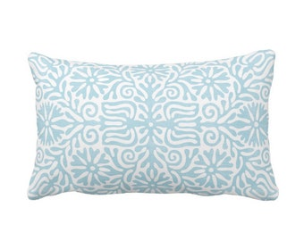 "OUTDOOR Folk Floral Throw Pillow or Cover, Sky Blue 14 x 20"" Lumbar Pillows/Covers, Light Aqua/White, Flowers/Boho/Bohemian/Tribal/Geo"