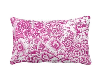 """OUTDOOR Retro Floral Throw Pillow or Cover, Bright Pink/White 14 x 20"""" Lumbar Pillows or Covers, Hot Fuchsia Flowers/Botanical/Print"""