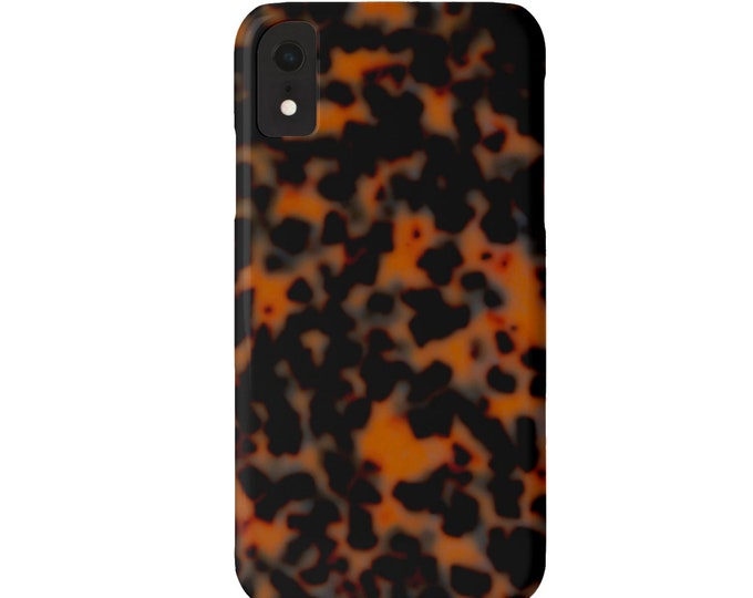 Tortoise Shell iPhone XS, XR, X, 7/8 or 6/6S, 6 P/Plus/Max Snap Case or TOUGH Protective Cover Sable Dark Faux Tortoiseshell Print/Design