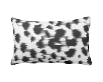 """OUTDOOR Ikat Abstract Animal Print Throw Pillow/Cover 14 x 20"""" Lumbar Pillows/Covers, Black/Gray/White Spots/Spotted/Dots/Painted Pattern"""