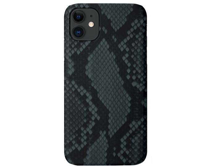 Teal Snakeskin iPhone 11, XS, XR, X, 7/8, 6/6S Pro/Max/Plus/P Snap Case or TOUGH Protective Cover, Blue/Green Animal Print/Pattern Galaxy lg