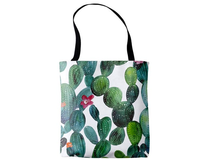 Watercolor Cactus Market Tote, Teal & Emerald Bag, Pink, Blue, Green Southwest Floral/Botanical Print