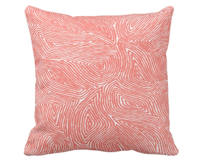 """Sulcata Geo Throw Pillow/Cover, Living Coral & White 16, 18, 20 or 26"""" Sq Pillows/Covers, Abstract Geometric/Tribal/Lines/Wavy/Boho Pattern"""