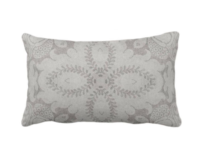"Nouveau Damask Throw Pillow or Cover, Putty Gray 14 x 20"" Lumbar/Oblong Pillows/Covers Warm Grey, Floral/Batik/Geo/Boho/Tribal Pattern"