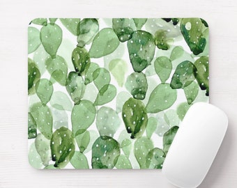 Watercolor Cactus Print Mouse Pad, Succulent Olive Green Botanical Mousepad