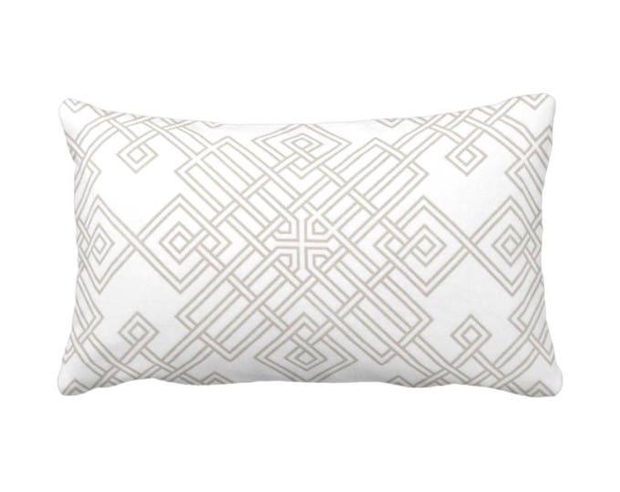 "OUTDOOR Interlocking Geo Throw Pillow or Cover, Bark/White 14 x 20"" Lumbar Pillows/Covers, Beige/Taupe Trellis/Lattice/Tile Print"