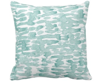 "READY 2 SHIP - SALE Raindrops Abstract Throw Pillow Cover, Lagoon/White 16"" Sq Pillow Covers, Hand-Dyed Print, Dusty Blue/Green"