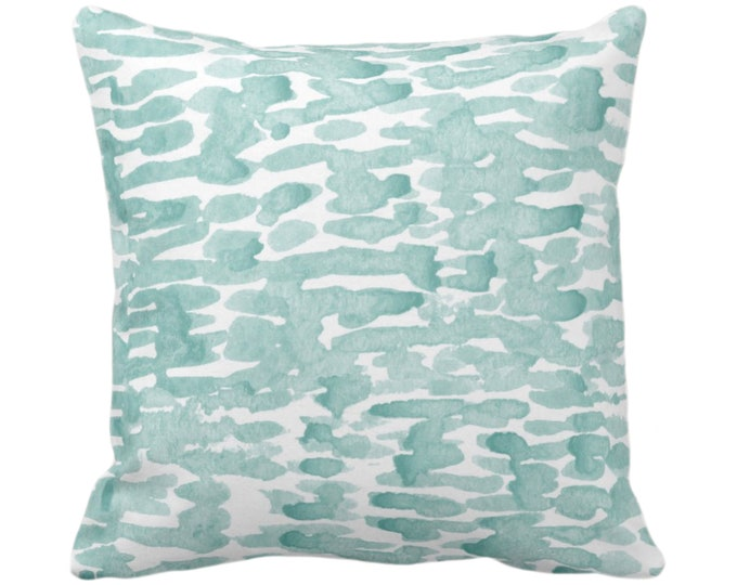 """READY 2 SHIP - SALE Raindrops Abstract Throw Pillow Cover, Lagoon/White 16"""" Sq Pillow Covers, Hand-Dyed Print, Dusty Blue/Green"""