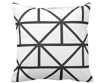 """OUTDOOR - SALE Geometric Throw Pillow Cover, Modern Black/White Print 17"""" Sq Pillow Covers, Geo/Lines/Triangles/Diamonds/Abstract"""