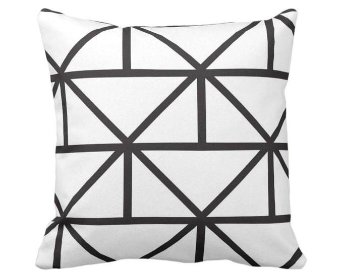 "OUTDOOR - SALE Geometric Throw Pillow Cover, Modern Black/White Print 17"" Sq Pillow Covers, Geo/Lines/Triangles/Diamonds/Abstract"