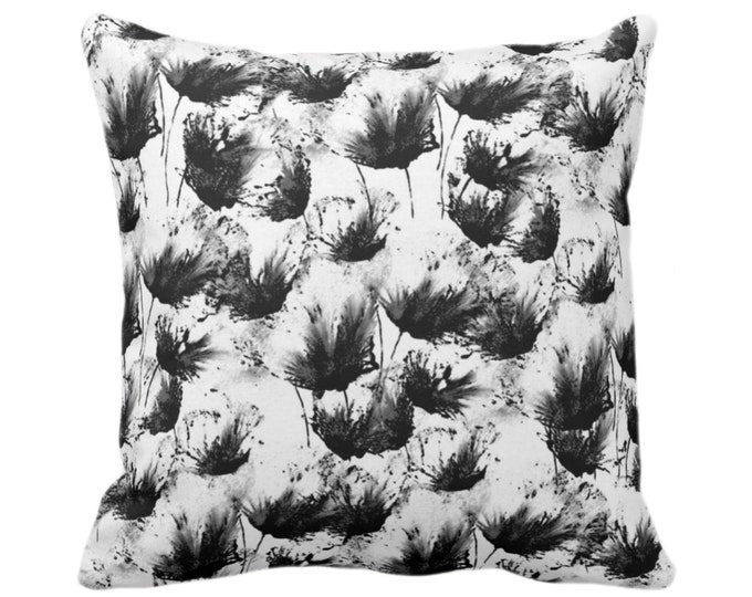 """Flower Bursts Throw Pillow or Cover, Black & White 14, 16, 18, 20 or 26"""" Sq Pillows or Covers, Floral/Flowers/Modern/Abstract Print/Pattern"""