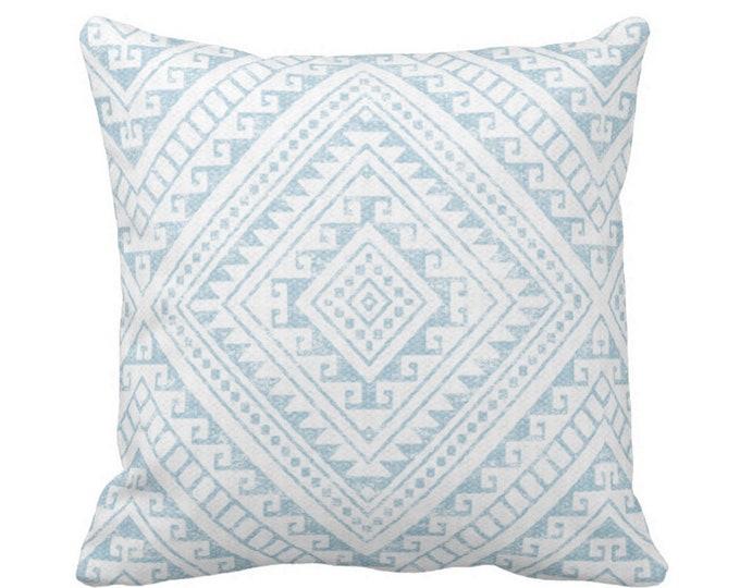 "Diamond Geo Throw Pillow or Cover, Sky Blue 14, 16, 18, 20 or 26"" Sq Pillows or Covers, Aqua Geometric/Tribal/Batik/Geo/Boho/Modern"