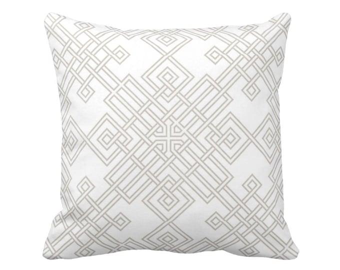 "Interlocking Geo Throw Pillow or Cover, Beige/White 16, 18, 20, 26"" Sq Pillows or Covers, Modern/Geometric/Trellis/Lattice Print"