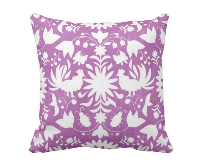 "OUTDOOR Otomi Throw Pillow or Cover, Purple/White 16, 18 or 20"" Sq Pillows or Covers, Bright Mexican/Boho/Floral/Animals/Nature Print"