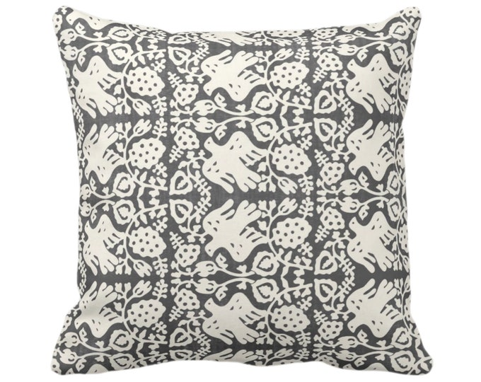 "SALE Block Print Bird Floral Throw Pillow Cover, Charcoal/Ivory 20"" Sq Pillow Covers Blockprint/Boho/Tribal Print"