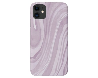 Lavender iPhone 12, 11, XS, XR, X, 7/8 Mini/Pro/Max/P/Plus Snap Case or TOUGH Protective Cover, Light Purple Marble/Abstract Print, Galaxy