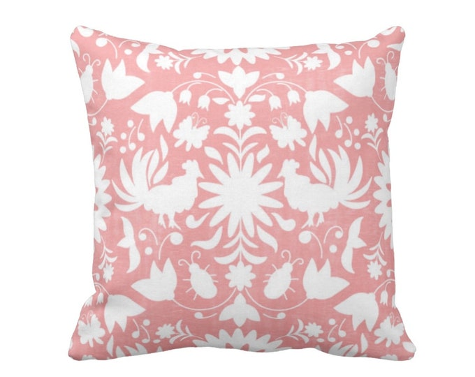 """SALE - READY 2 SHIP Otomi Throw Pillow Cover, Light Pink/White 18"""" Sq Pillow Covers, Mexican/Boho/Floral/Animals/Nature Print, Rose/Blush"""