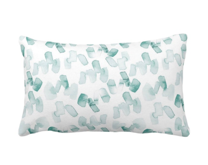 "OUTDOOR Watercolor Confetti Abstract Print Throw Pillow/Cover, Lagoon/White 14 x 20"" Lumbar Pillows/Covers, Modern, Light Dusty Blue/Green"