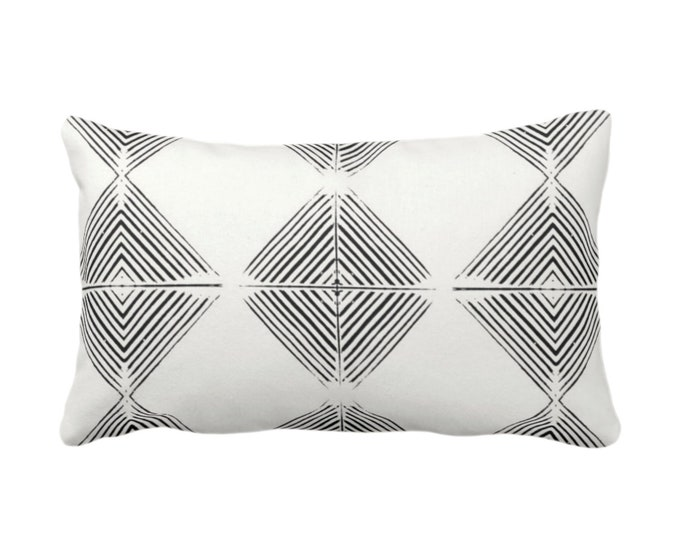 "Tribal Diamond Geometric Throw Pillow or Cover, Black/Off-White Print 14 x 20"" Lumbar Pillows or Covers, Geo/Lines/Triangles/Modern/Minimal"