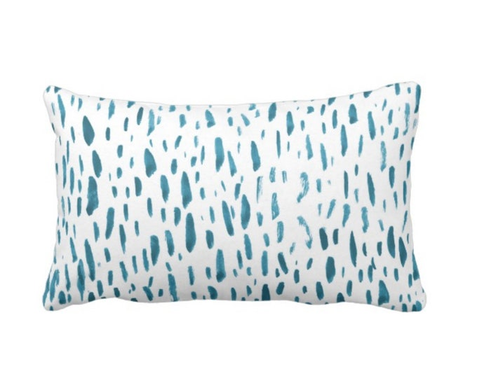 """Hand-Painted Dashes Throw Pillow or Cover, Teal/White 14 x 20"""" Lumbar Pillows or Covers Modern Dots/Dash/Abstract/Splatter Print"""