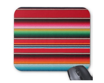 Serape Stripe Mouse Pad, Bright, Colorful Mexican Rug/Blanket Print Mouse Pad, Multicolored