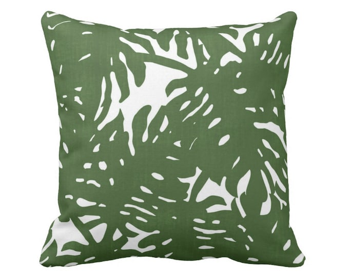"Palm Silhouette Throw Pillow or Cover Green/White 16, 18, 20, 26"" Sq Pillows or Covers Tropical/Leaf/Leaves/Palms Print/Pattern"