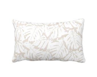 "Palm Print Throw Pillow or Cover, Bark/White 14 x 20"" Lumbar Pillows or Covers, Beige/Tan Tropical/Leaf/Leaves/Modern Pattern"