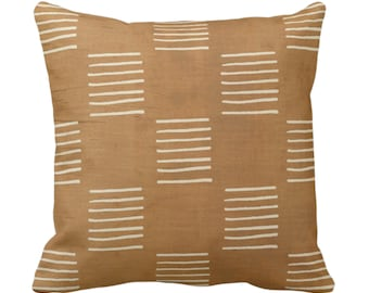 "OUTDOOR Mud Cloth Lines Printed Throw Pillow or Cover, Brown/Beige 14, 16, 18, 20, 26"" Sq Pillows/Covers, Mudcloth/Boho/Geometric/African"