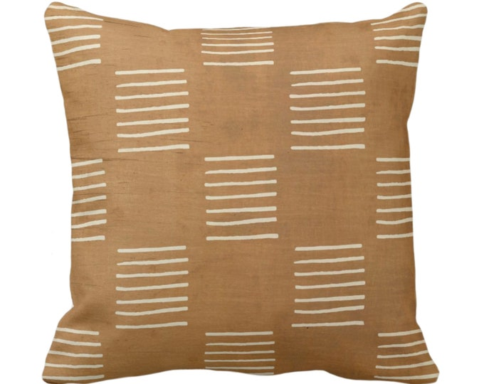 """OUTDOOR Mud Cloth Lines Print Throw Pillow or Cover, Brown/Beige 14, 16, 18, 20, 26"""" Sq Pillows/Covers, Mudcloth/Boho/Geometric/African"""