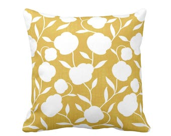 "Floral Silhouette Throw Pillow or Cover Mustard/White Print 16, 18, 20 or 26"" Sq Pillows or Covers Yellow Modern Botanical Print"