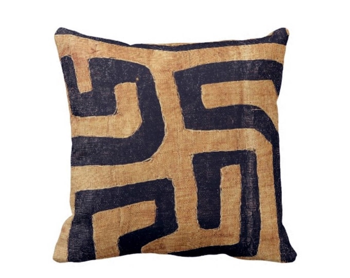 "SALE Kuba Cloth Printed Throw Pillow Cover, Tan/Black 26"" Sq Pillow Covers, Geometric/African/Tribal/Boho/Design"