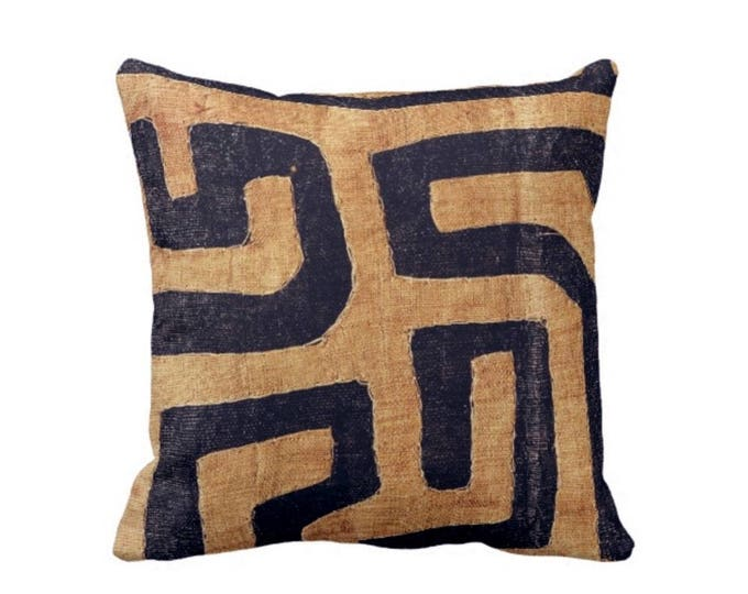 "OUTDOOR Kuba Cloth Printed Throw Pillow or Cover, Tan/Black 16, 18 or 20"" Sq Pillows or Covers, Geometric/African/Tribal/Boho/Design"