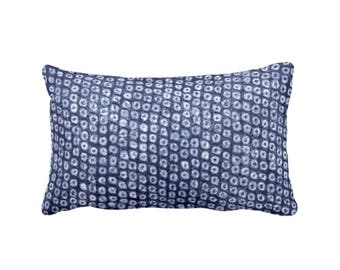 "OUTDOOR Batik Print Indigo Throw Pillow or Cover, 14 x 20"" Lumbar Pillows/Covers, Dots/Circles/Abstract/Boho/Tribal Design, Navy"