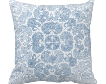 """Batik Print Throw Pillow or Cover, Washed Indigo 14, 16, 18, 20, 26"""" Sq Pillows/Covers, Light Blue Floral/Geo/Boho/Tribal/Hmong/Pattern"""