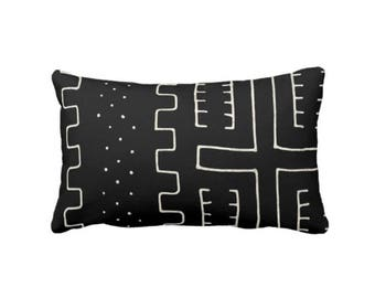 "Mud Cloth Print Throw Pillow or Cover, Black & Off-White 14 x 20"" Lumbar Pillows or Covers, Mudcloth/Boho/Tribal/Geometric/Geo/Lines"