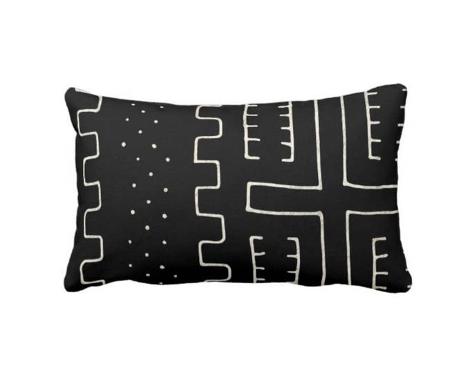 """Mud Cloth Print Throw Pillow or Cover, Black & Off-White 14 x 20"""" Lumbar Pillows or Covers, Mudcloth/Boho/Tribal/Geometric/Geo/Lines"""