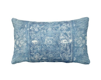 "OUTDOOR Batik Printed Throw Pillow or Cover, Indigo 14 x 20"" Lumbar Pillows or Covers, Blue Vintage Chinese Miao Tribe/Tribal Print"