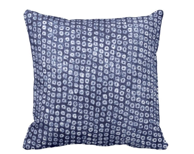 "OUTDOOR - READY 2 SHIP Indigo Batik Print Throw Pillow Cover, 18"" Sq Printed Dot/Circles Design Pillows or Covers, Navy/Blue, Boho/Pattern"