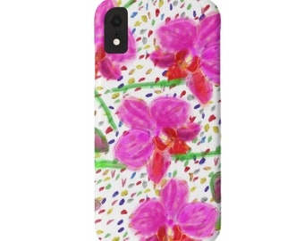 Sketch Orchids iPhone 11, XS, XR, X, 7/8, 6/6S Pro/Max/Plus/P Snap Case or Tough Protective Cover, Colorful Watercolor Bright Pink Floral